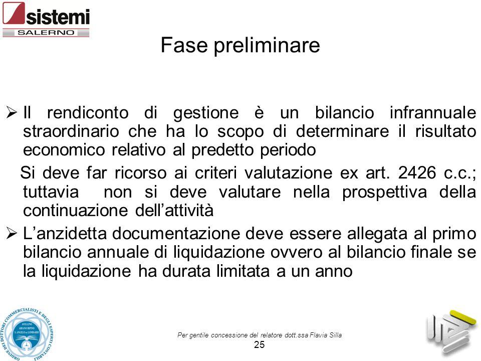 Per gentile concessione del relatore dott.ssa Flavia Silla 25 Fase preliminare  Il rendiconto di gestione è un bilancio infrannuale straordinario che