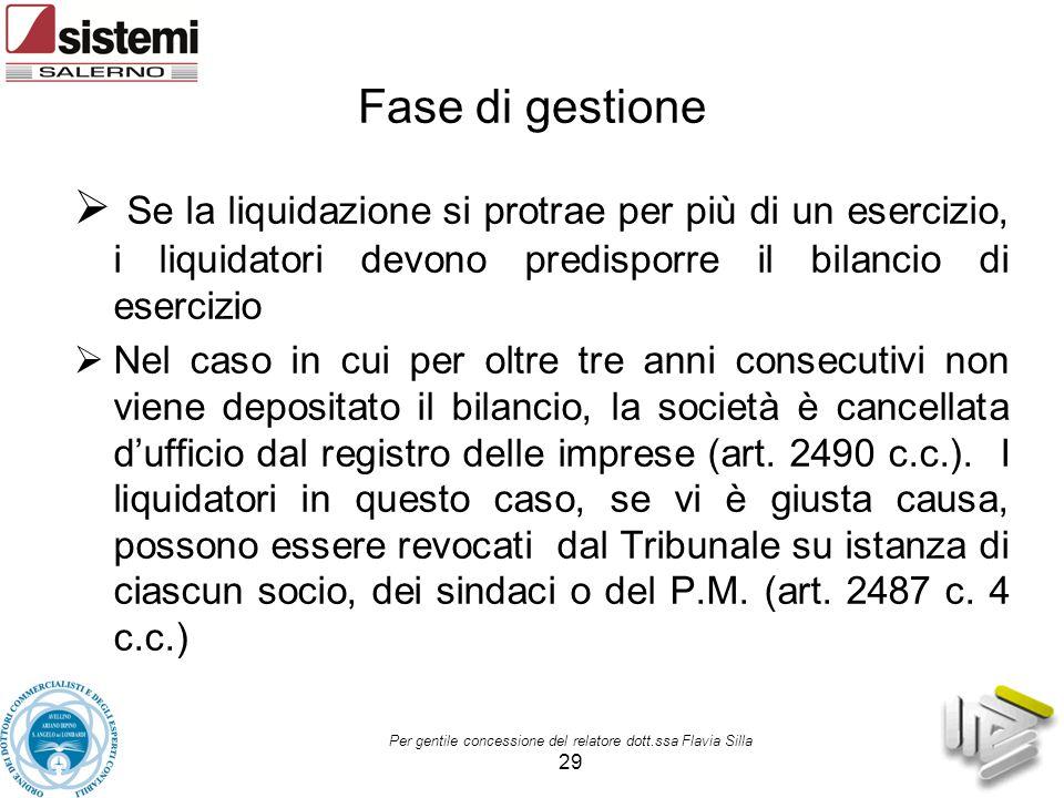 Per gentile concessione del relatore dott.ssa Flavia Silla 29 Fase di gestione  Se la liquidazione si protrae per più di un esercizio, i liquidatori