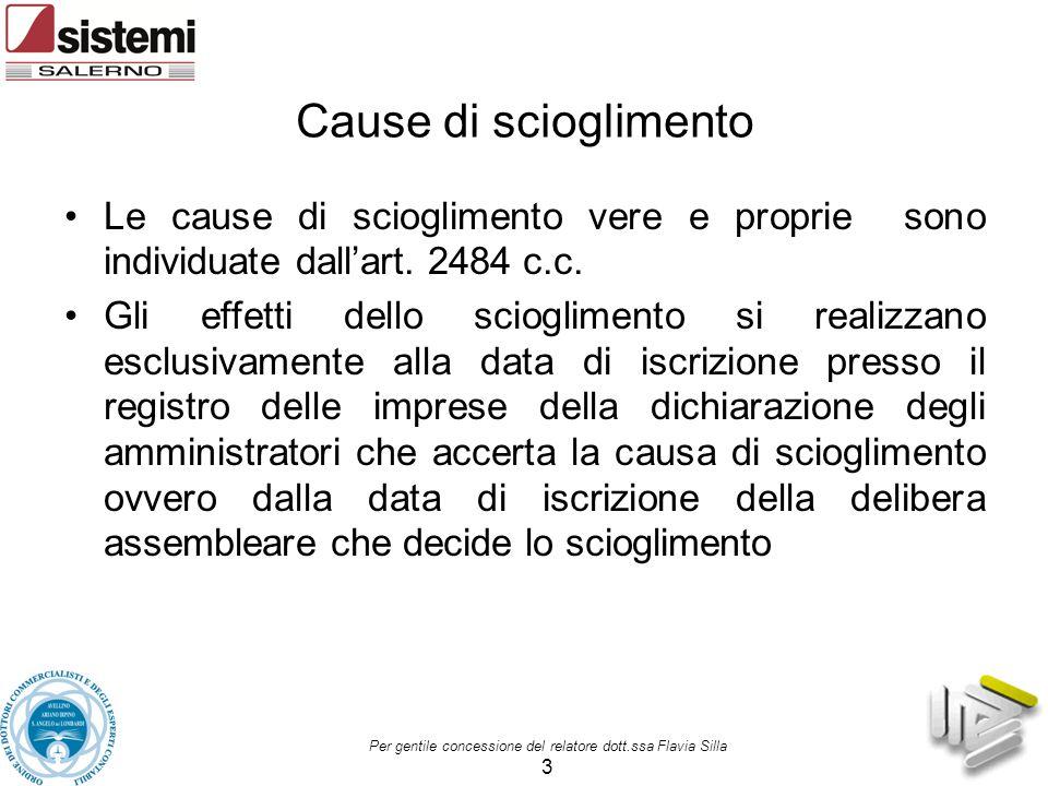 Cause di scioglimento Le cause di scioglimento vere e proprie sono individuate dall'art. 2484 c.c. Gli effetti dello scioglimento si realizzano esclus