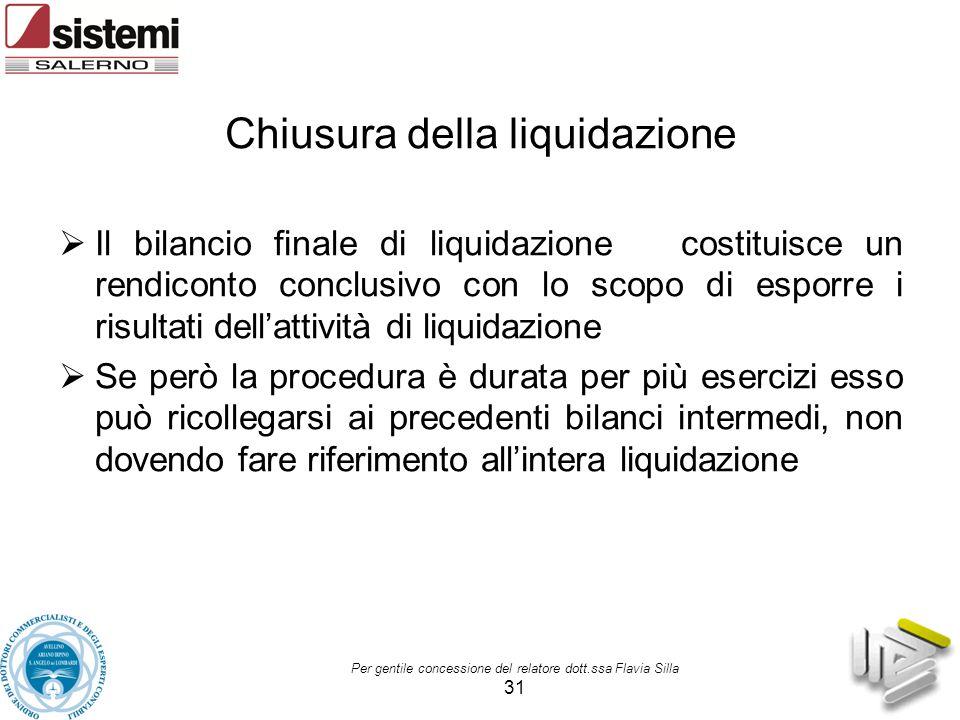 Per gentile concessione del relatore dott.ssa Flavia Silla 31 Chiusura della liquidazione  Il bilancio finale di liquidazione costituisce un rendicon