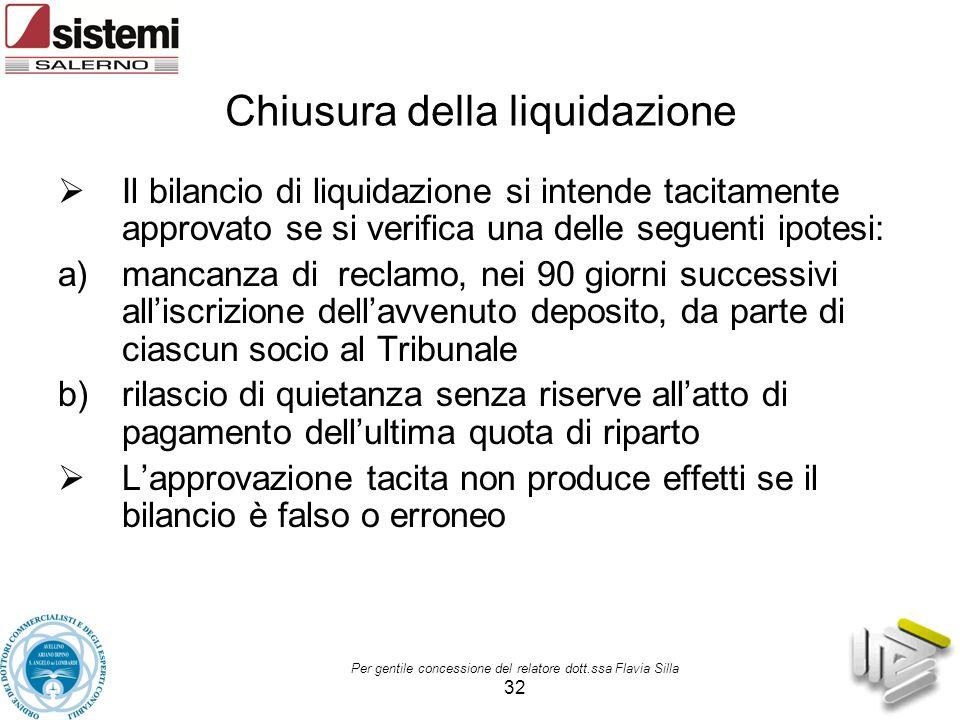 Per gentile concessione del relatore dott.ssa Flavia Silla 32 Chiusura della liquidazione  Il bilancio di liquidazione si intende tacitamente approva