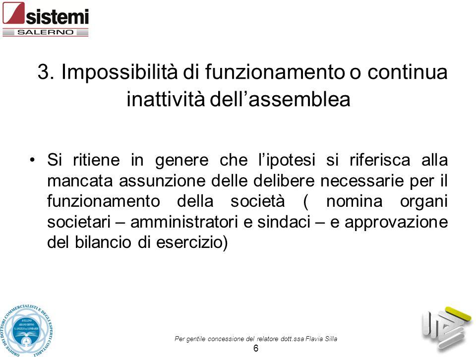 3. Impossibilità di funzionamento o continua inattività dell'assemblea Si ritiene in genere che l'ipotesi si riferisca alla mancata assunzione delle d