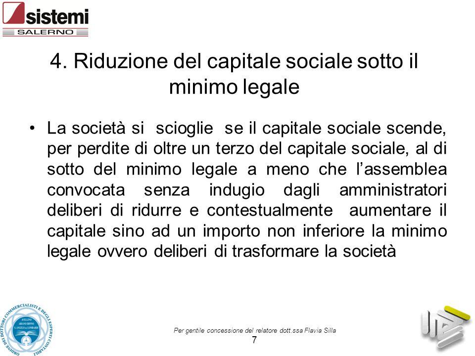 4. Riduzione del capitale sociale sotto il minimo legale La società si scioglie se il capitale sociale scende, per perdite di oltre un terzo del capit