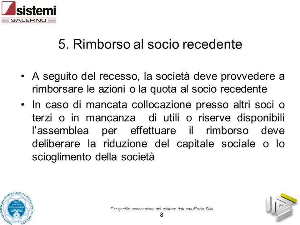 5. Rimborso al socio recedente A seguito del recesso, la società deve provvedere a rimborsare le azioni o la quota al socio recedente In caso di manca