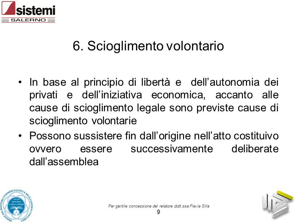 6. Scioglimento volontario In base al principio di libertà e dell'autonomia dei privati e dell'iniziativa economica, accanto alle cause di sciogliment
