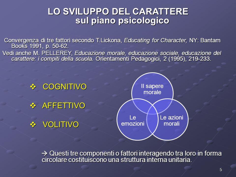 5 LO SVILUPPO DEL CARATTERE sul piano psicologico Convergenza di tre fattori secondo T.Lickona, Educating for Character, NY: Bantam Books 1991, p.