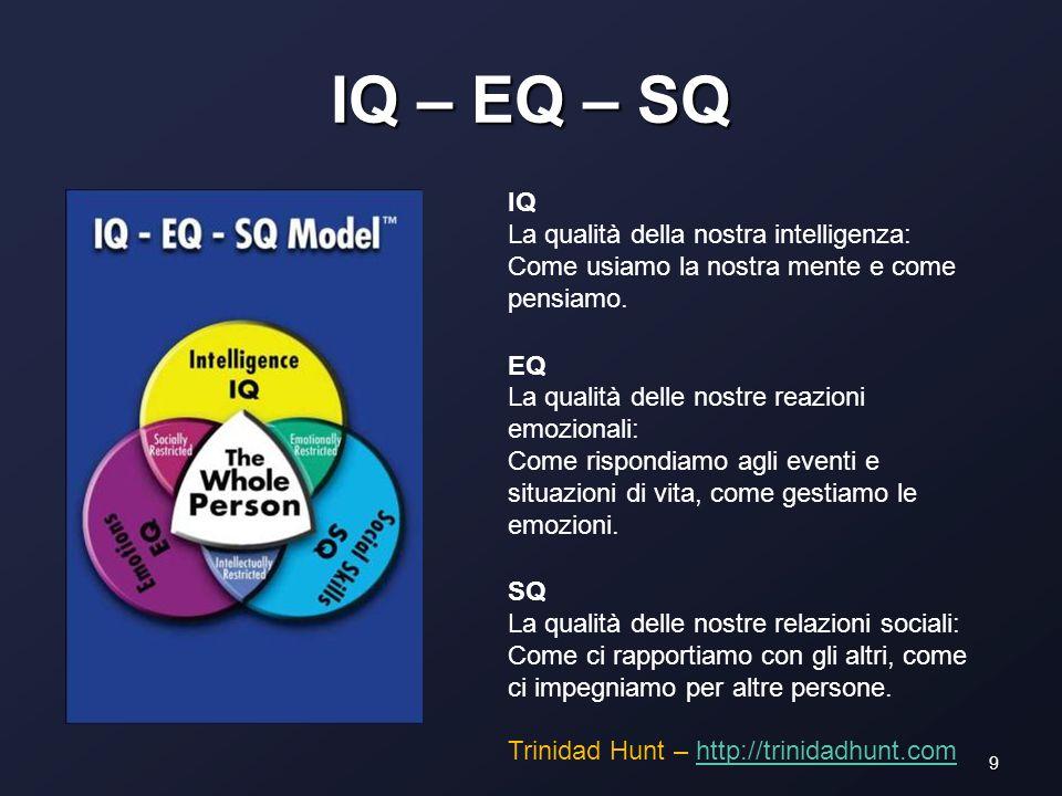 IQ – EQ – SQ 9 IQ La qualità della nostra intelligenza: Come usiamo la nostra mente e come pensiamo.