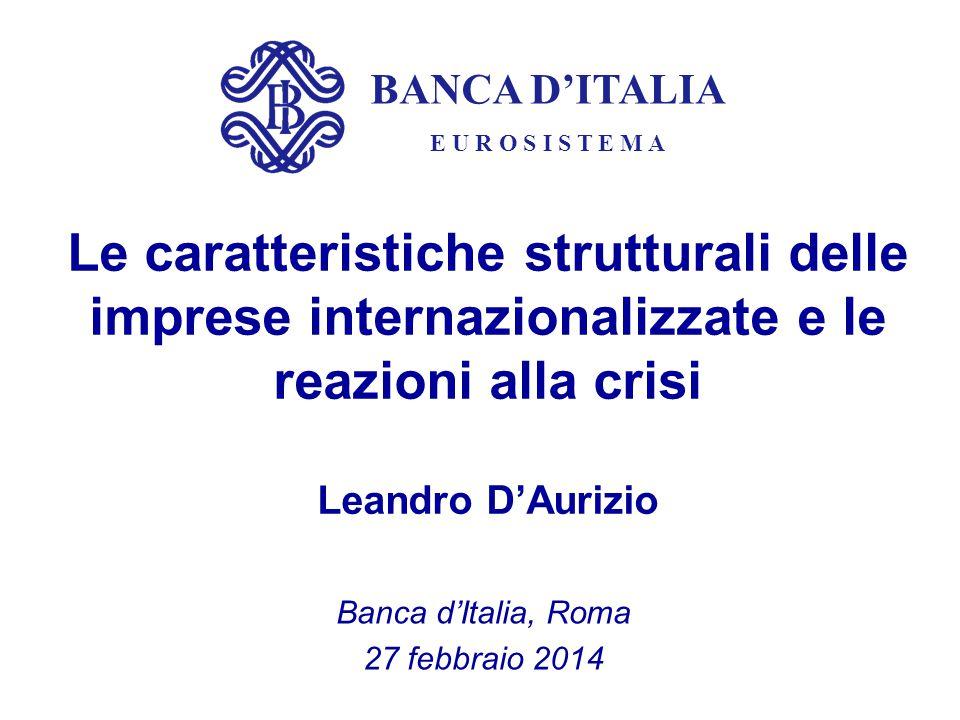 BANCA D'ITALIA E U R O S I S T E M A Le caratteristiche strutturali delle imprese internazionalizzate e le reazioni alla crisi Leandro D'Aurizio Banca
