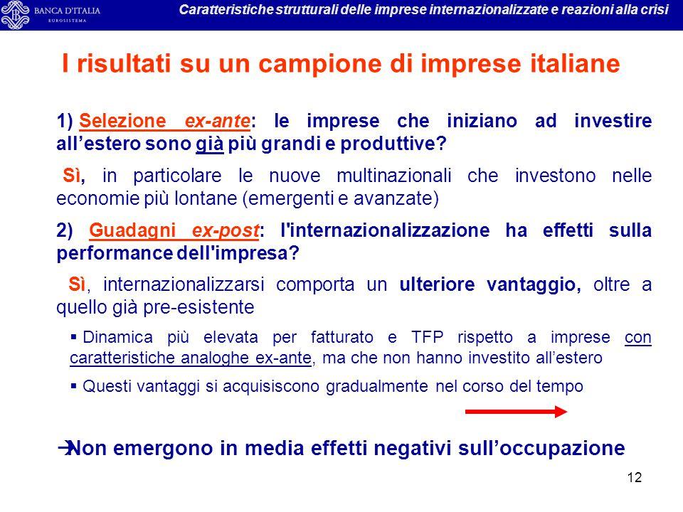 12 Caratteristiche strutturali delle imprese internazionalizzate e reazioni alla crisi I risultati su un campione di imprese italiane 1) Selezione ex-