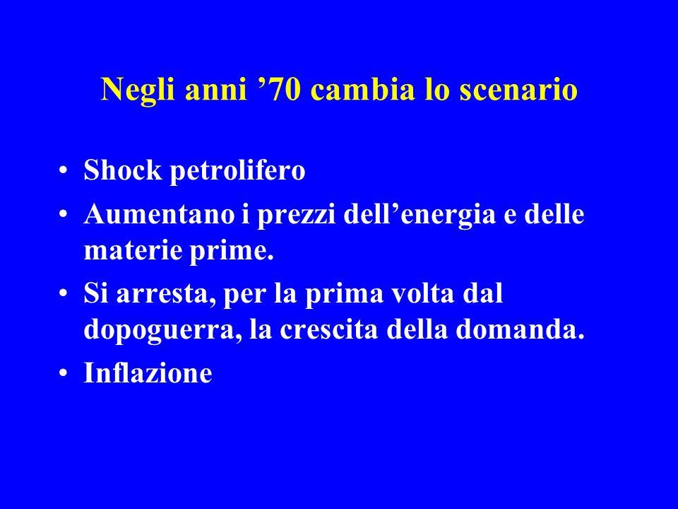 Negli anni '70 cambia lo scenario Shock petrolifero Aumentano i prezzi dell'energia e delle materie prime.
