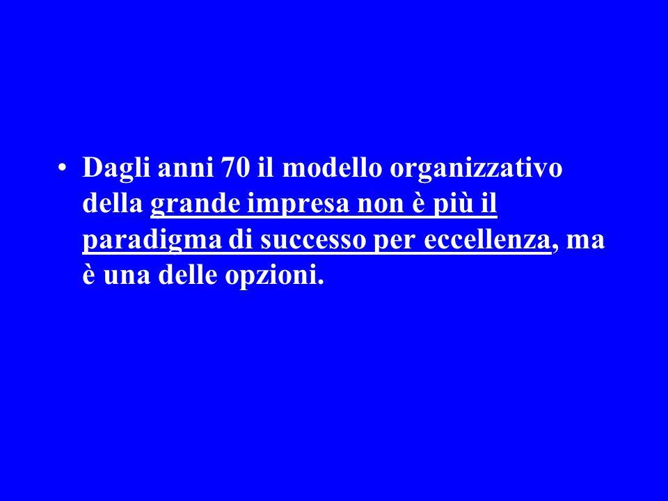 Dagli anni 70 il modello organizzativo della grande impresa non è più il paradigma di successo per eccellenza, ma è una delle opzioni.