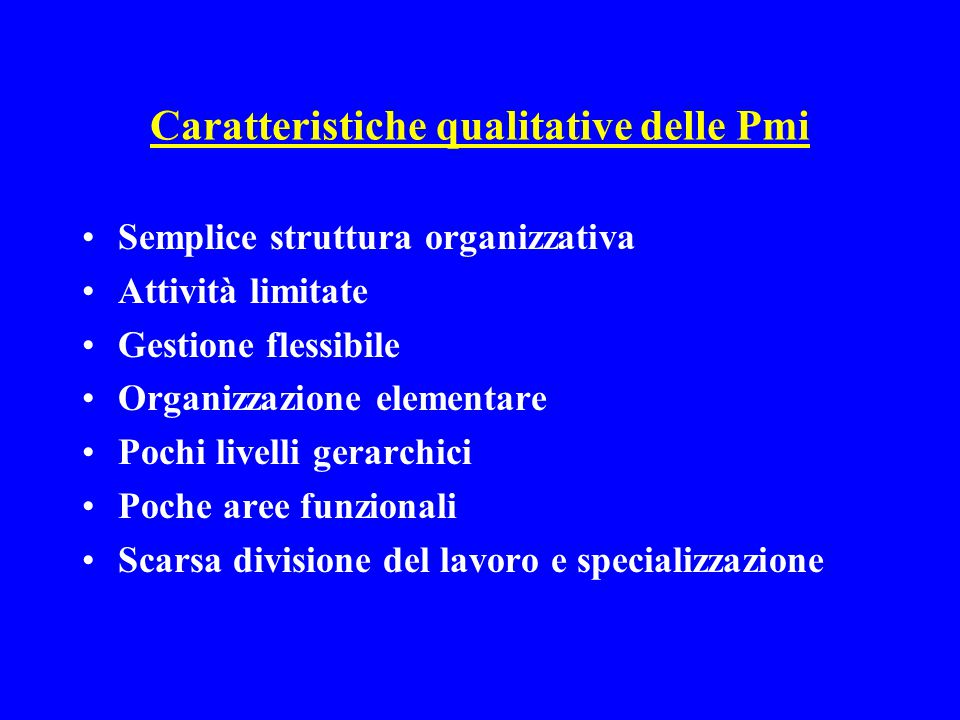 Caratteristiche qualitative delle Pmi Semplice struttura organizzativa Attività limitate Gestione flessibile Organizzazione elementare Pochi livelli gerarchici Poche aree funzionali Scarsa divisione del lavoro e specializzazione