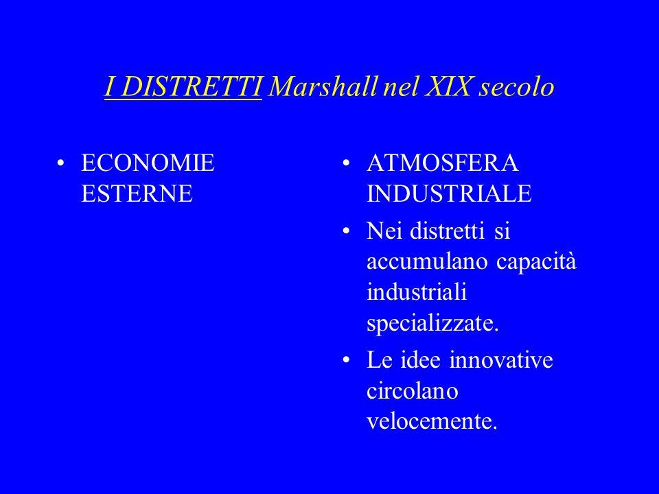 I DISTRETTI Marshall nel XIX secolo ECONOMIE ESTERNE ATMOSFERA INDUSTRIALE Nei distretti si accumulano capacità industriali specializzate.