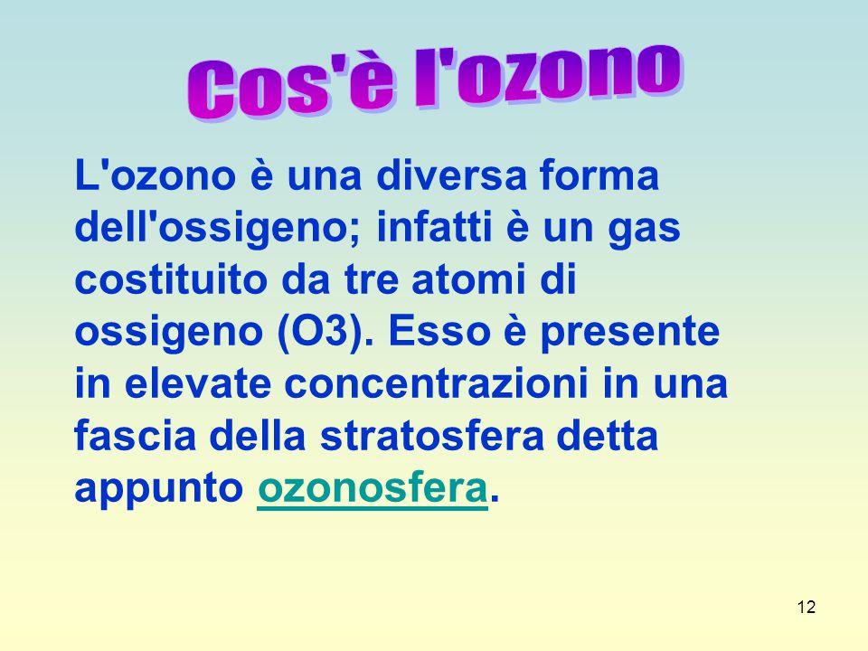 12 L'ozono è una diversa forma dell'ossigeno; infatti è un gas costituito da tre atomi di ossigeno (O3). Esso è presente in elevate concentrazioni in