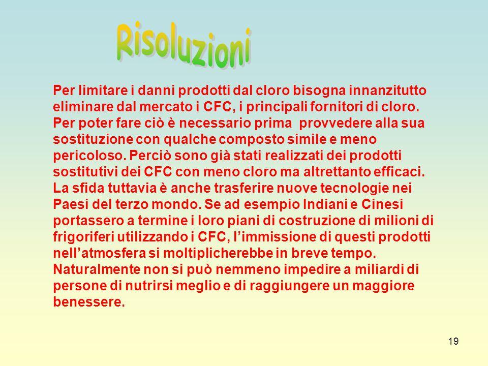 19 Per limitare i danni prodotti dal cloro bisogna innanzitutto eliminare dal mercato i CFC, i principali fornitori di cloro. Per poter fare ciò è nec
