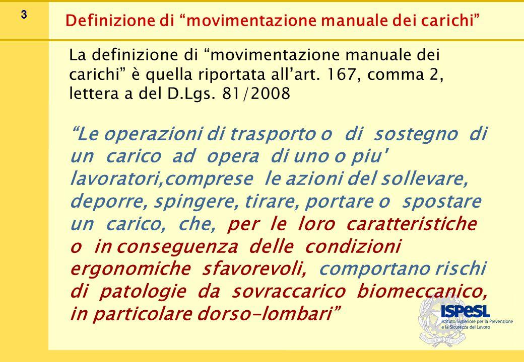 """3 La definizione di """"movimentazione manuale dei carichi"""" è quella riportata all'art. 167, comma 2, lettera a del D.Lgs. 81/2008 """"Le operazioni di tras"""