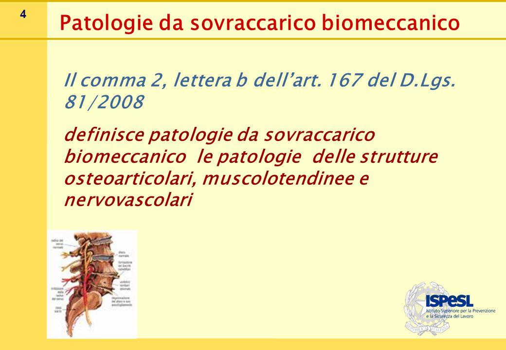 4 Il comma 2, lettera b dell'art. 167 del D.Lgs. 81/2008 definisce patologie da sovraccarico biomeccanico le patologie delle strutture osteoarticolari