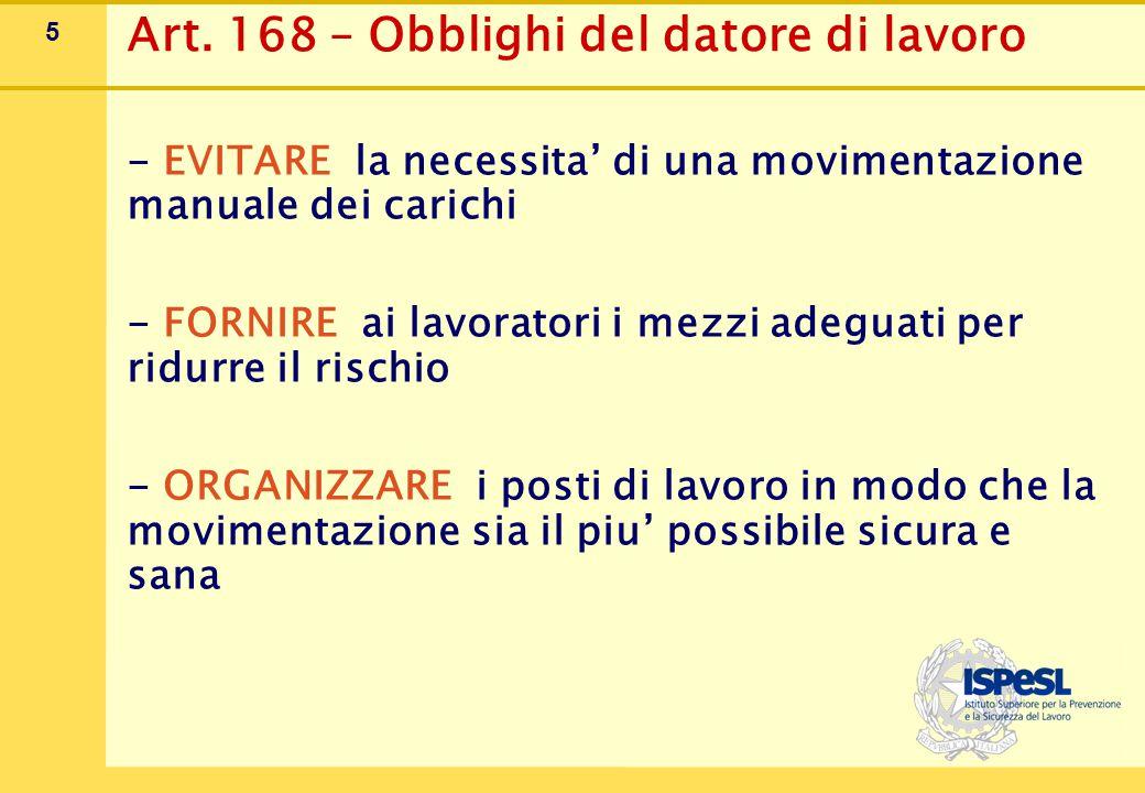5 Art. 168 – Obblighi del datore di lavoro - EVITARE la necessita' di una movimentazione manuale dei carichi - FORNIRE ai lavoratori i mezzi adeguati
