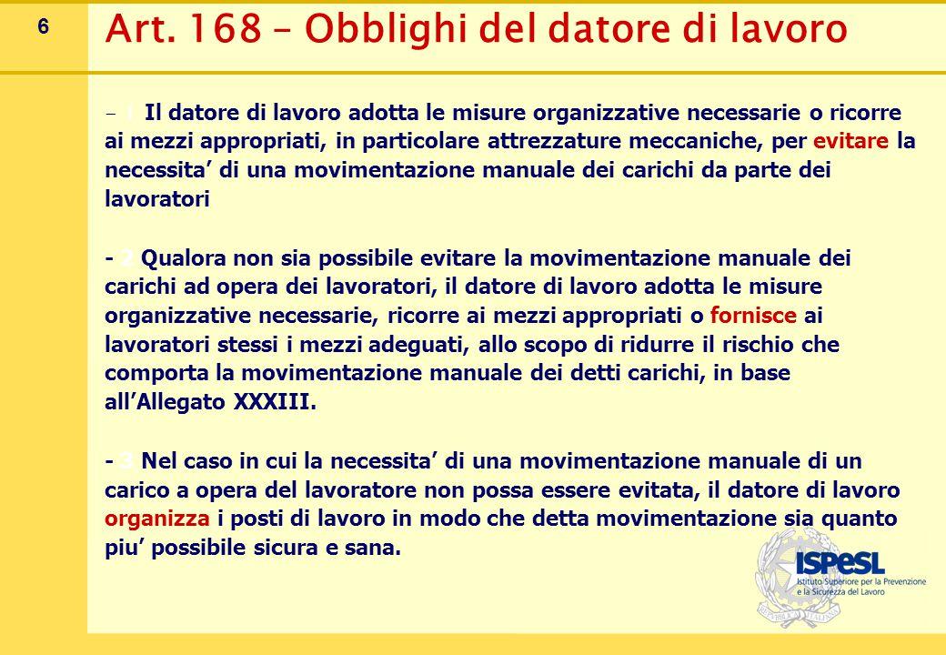 6 Art. 168 – Obblighi del datore di lavoro - 1 Il datore di lavoro adotta le misure organizzative necessarie o ricorre ai mezzi appropriati, in partic