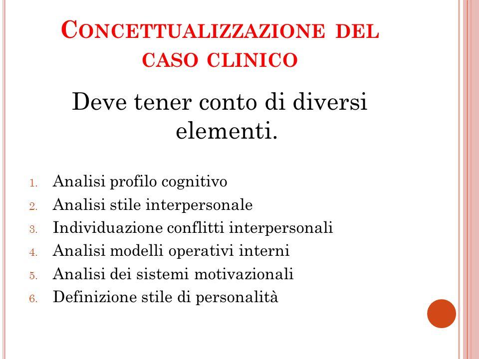 C ONCETTUALIZZAZIONE DEL CASO CLINICO Deve tener conto di diversi elementi. 1. Analisi profilo cognitivo 2. Analisi stile interpersonale 3. Individuaz