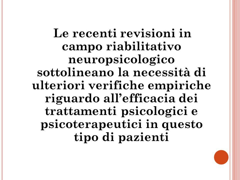 Le recenti revisioni in campo riabilitativo neuropsicologico sottolineano la necessità di ulteriori verifiche empiriche riguardo all'efficacia dei tra