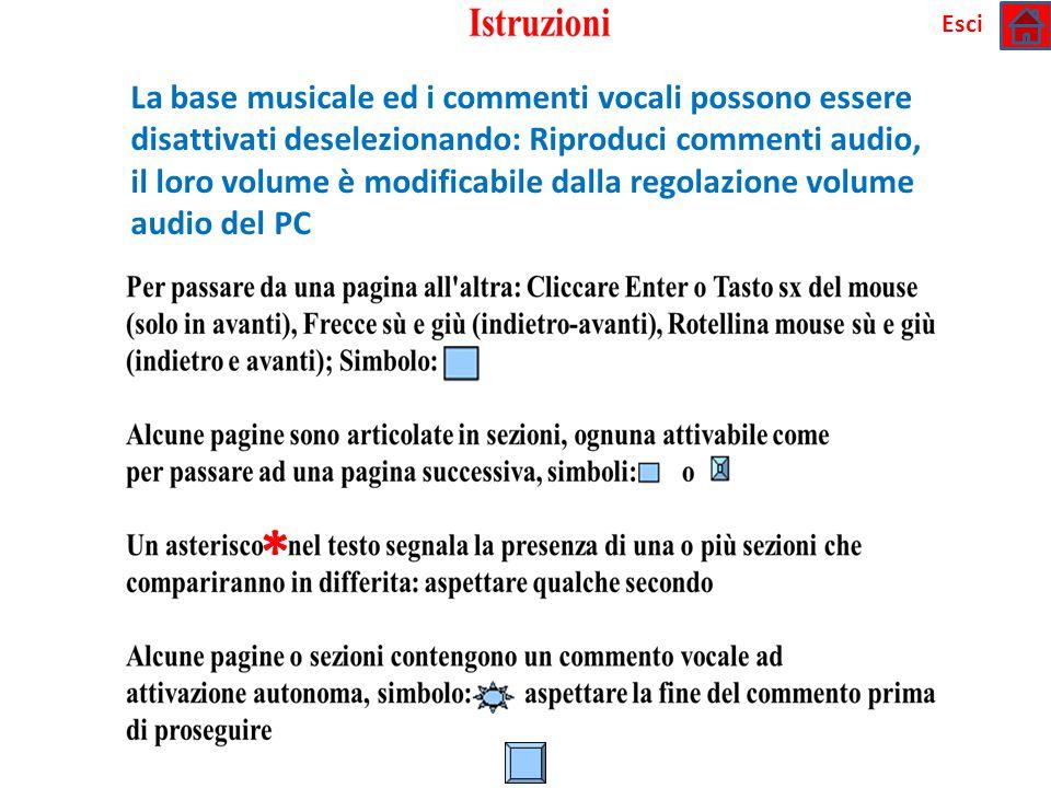 * La base musicale ed i commenti vocali possono essere disattivati deselezionando: Riproduci commenti audio, il loro volume è modificabile dalla regolazione volume audio del PC Esci