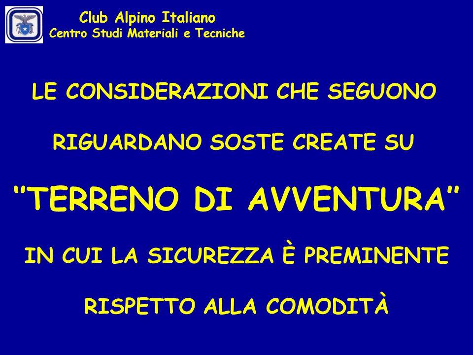 analisi dei carichi sugli ancoraggi analisi del cedimento di uno di essi proposte concrete Club Alpino Italiano Centro Studi Materiali e Tecniche