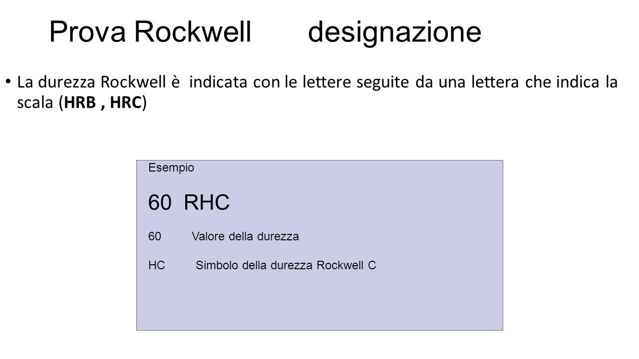 La durezza Rockwell è indicata con le lettere seguite da una lettera che indica la scala (HRB, HRC) Prova Rockwell designazione Esempio 60 RHC 60 Valore della durezza HC Simbolo della durezza Rockwell C