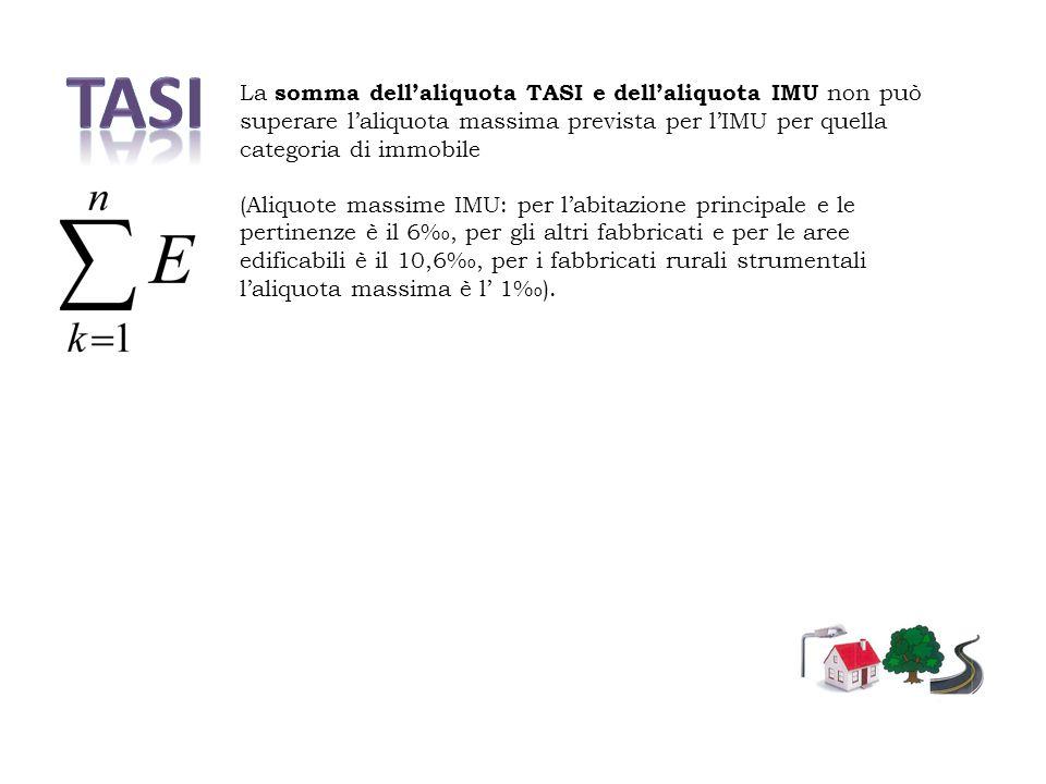 La somma dell'aliquota TASI e dell'aliquota IMU non può superare l'aliquota massima prevista per l'IMU per quella categoria di immobile (Aliquote massime IMU: per l'abitazione principale e le pertinenze è il 6‰, per gli altri fabbricati e per le aree edificabili è il 10,6‰, per i fabbricati rurali strumentali l'aliquota massima è l' 1‰).