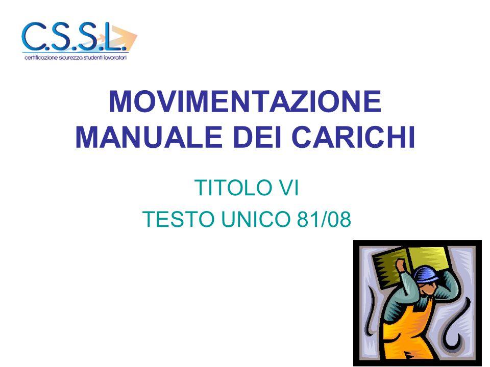 MOVIMENTAZIONE MANUALE DEI CARICHI TITOLO VI TESTO UNICO 81/08
