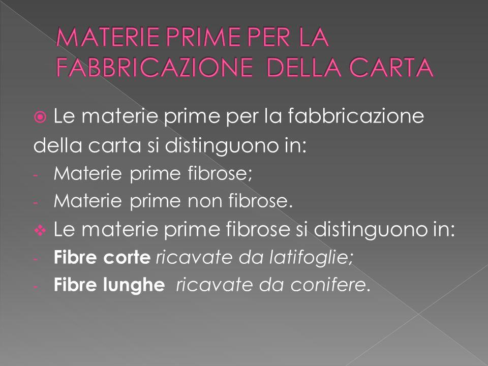  Le materie prime per la fabbricazione della carta si distinguono in: - Materie prime fibrose; - Materie prime non fibrose.  Le materie prime fibros