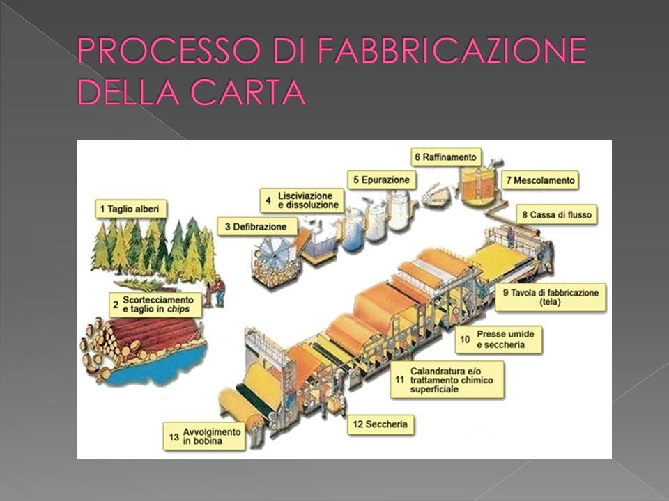  La carta è attualmente prodotta con impiego di fibre vegetali cellulosiche ;  Le due fasi principali sono:  Preparazione dell'impasto e formazione del nastro di carta;  L'impasto consiste nello spappolamento, nella raffinazione, nella miscelazione e dosaggio e nella diluizione.