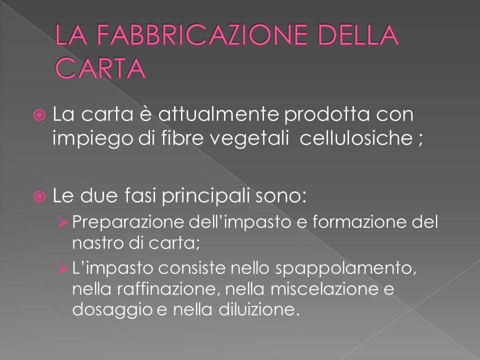  La carta è attualmente prodotta con impiego di fibre vegetali cellulosiche ;  Le due fasi principali sono:  Preparazione dell'impasto e formazione