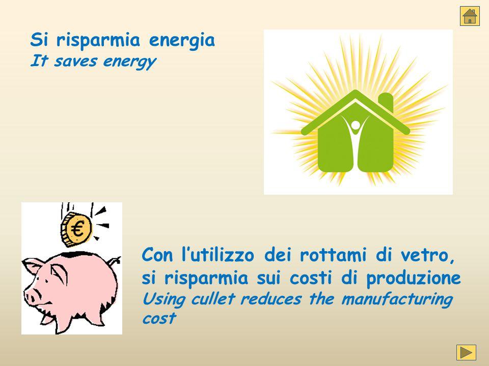 Si risparmia energia It saves energy Con l'utilizzo dei rottami di vetro, si risparmia sui costi di produzione Using cullet reduces the manufacturing