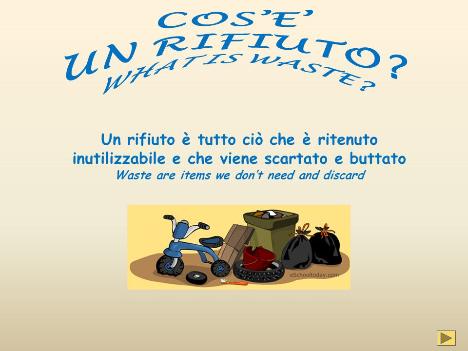 Si abbattono le tasse per lo smaltimento You'll break down the fees for disposal Perché because…