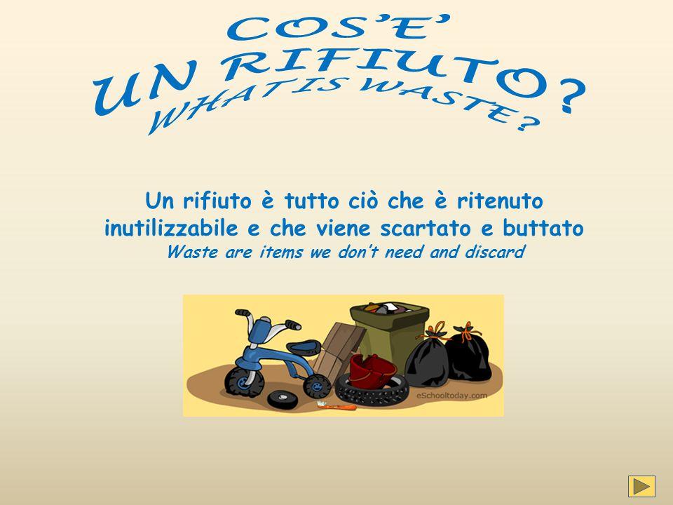 Un rifiuto è tutto ciò che è ritenuto inutilizzabile e che viene scartato e buttato Waste are items we don't need and discard
