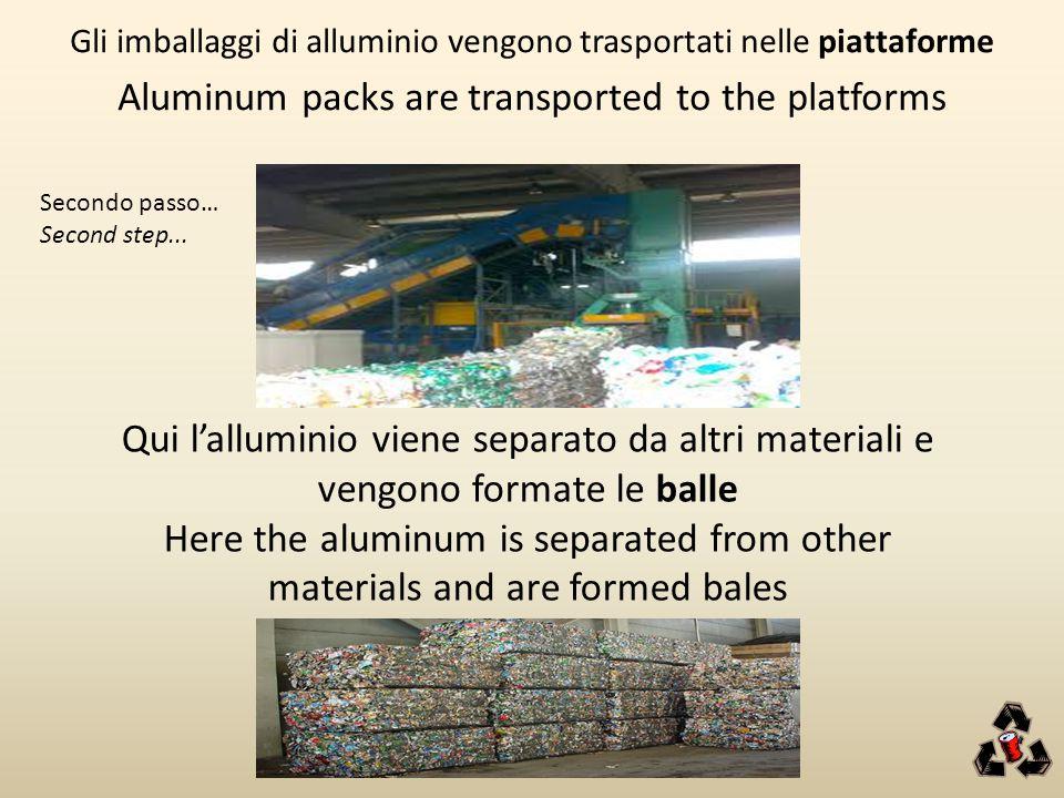 Gli imballaggi di alluminio vengono trasportati nelle piattaforme Aluminum packs are transported to the platforms Qui l'alluminio viene separato da al