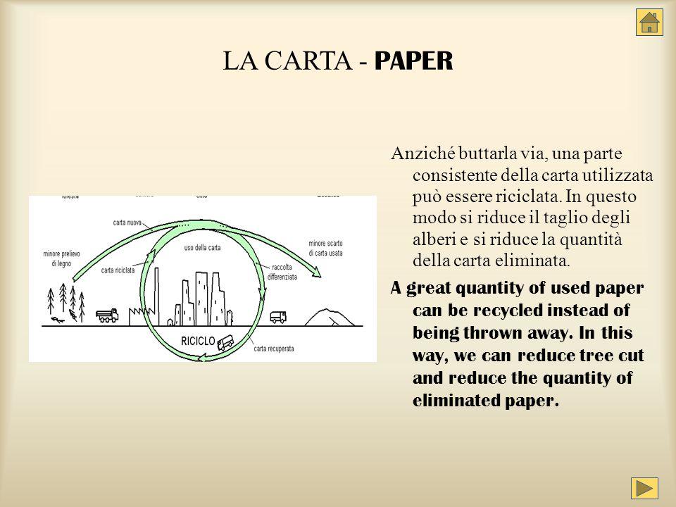 LA CARTA - PAPER Anziché buttarla via, una parte consistente della carta utilizzata può essere riciclata. In questo modo si riduce il taglio degli alb