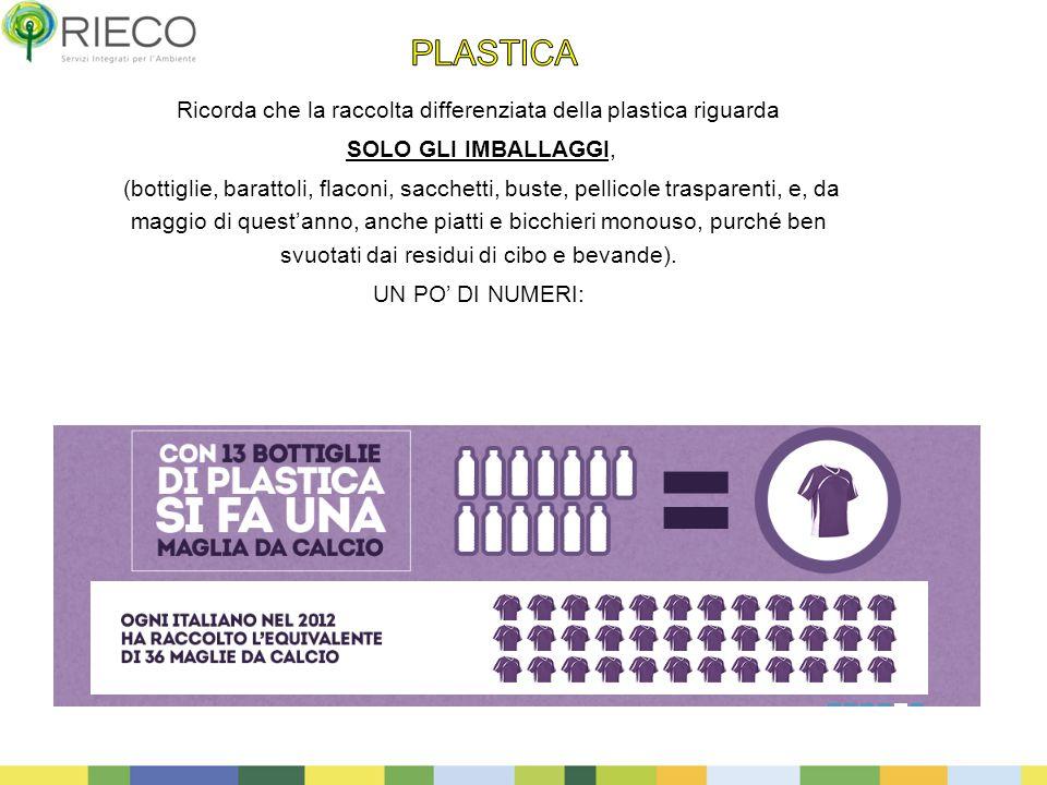 11 Ricorda che la raccolta differenziata della plastica riguarda SOLO GLI IMBALLAGGI, (bottiglie, barattoli, flaconi, sacchetti, buste, pellicole tras