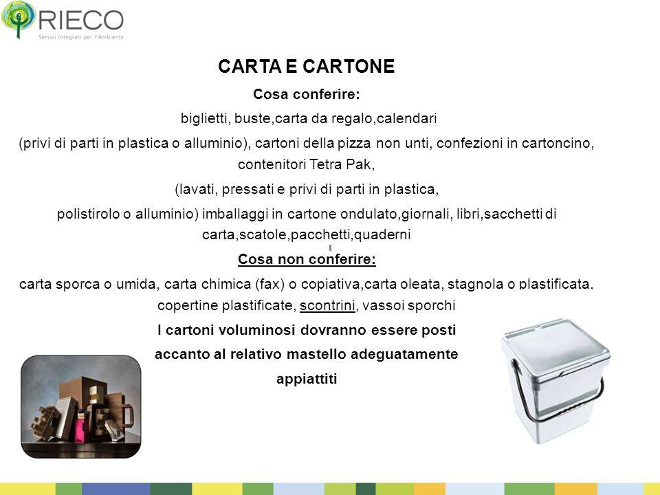 21 CARTA E CARTONE Cosa conferire: biglietti, buste,carta da regalo,calendari (privi di parti in plastica o alluminio), cartoni della pizza non unti,