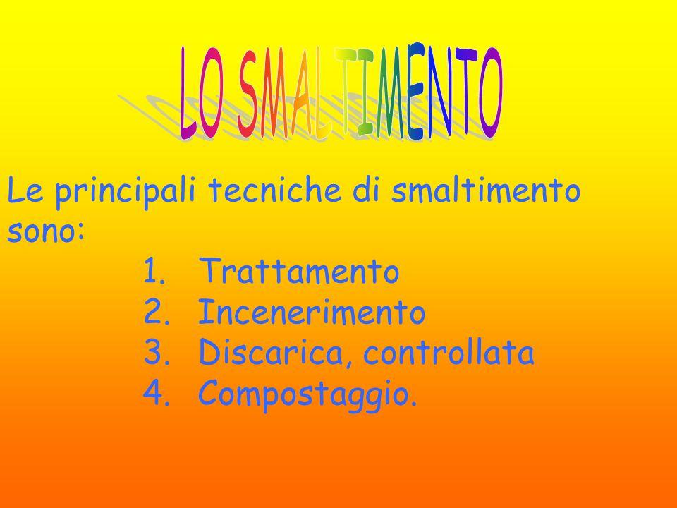 Le principali tecniche di smaltimento sono: 1.Trattamento 2.Incenerimento 3.Discarica, controllata 4.Compostaggio.
