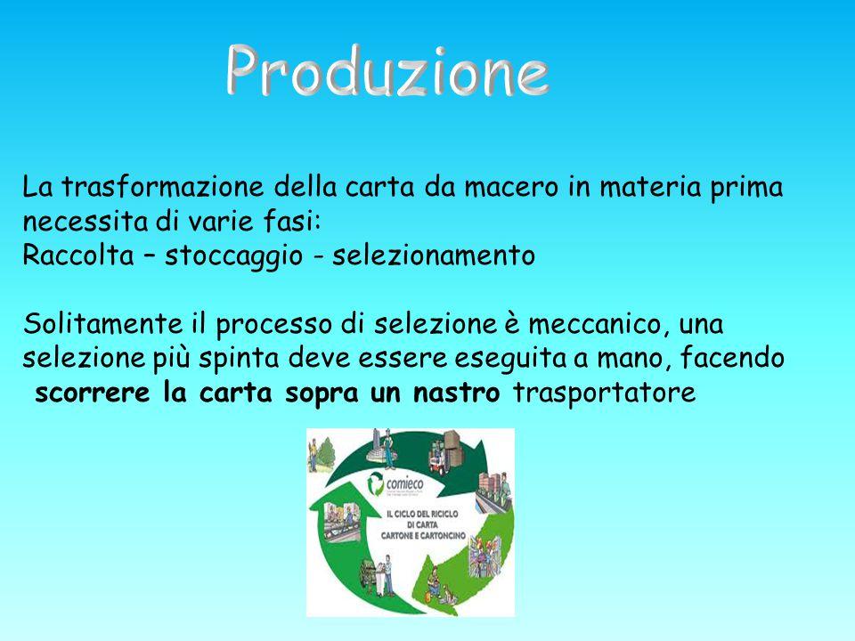 La trasformazione della carta da macero in materia prima necessita di varie fasi: Raccolta – stoccaggio - selezionamento Solitamente il processo di se