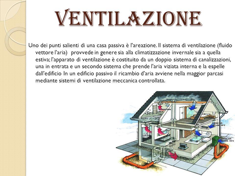 Ventilazione Uno dei punti salienti di una casa passiva è l'areazione. Il sistema di ventilazione (fluido vettore l'aria) provvede in genere sia alla