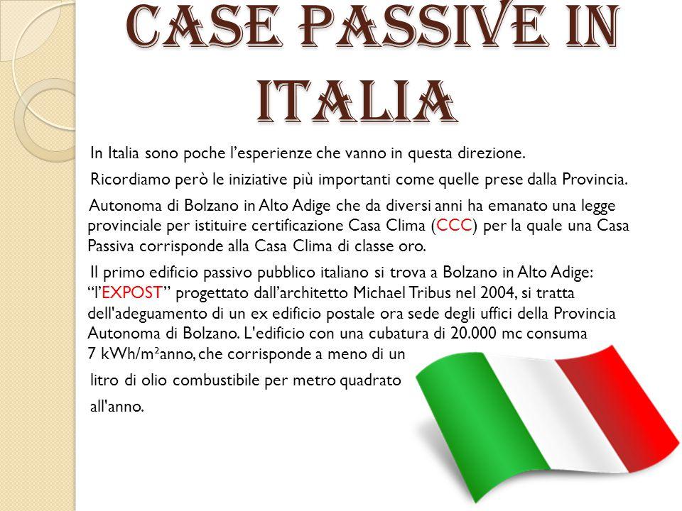 CASE PASSIVE IN ITALIA CASE PASSIVE IN ITALIA In Italia sono poche l'esperienze che vanno in questa direzione. Ricordiamo però le iniziative più impor