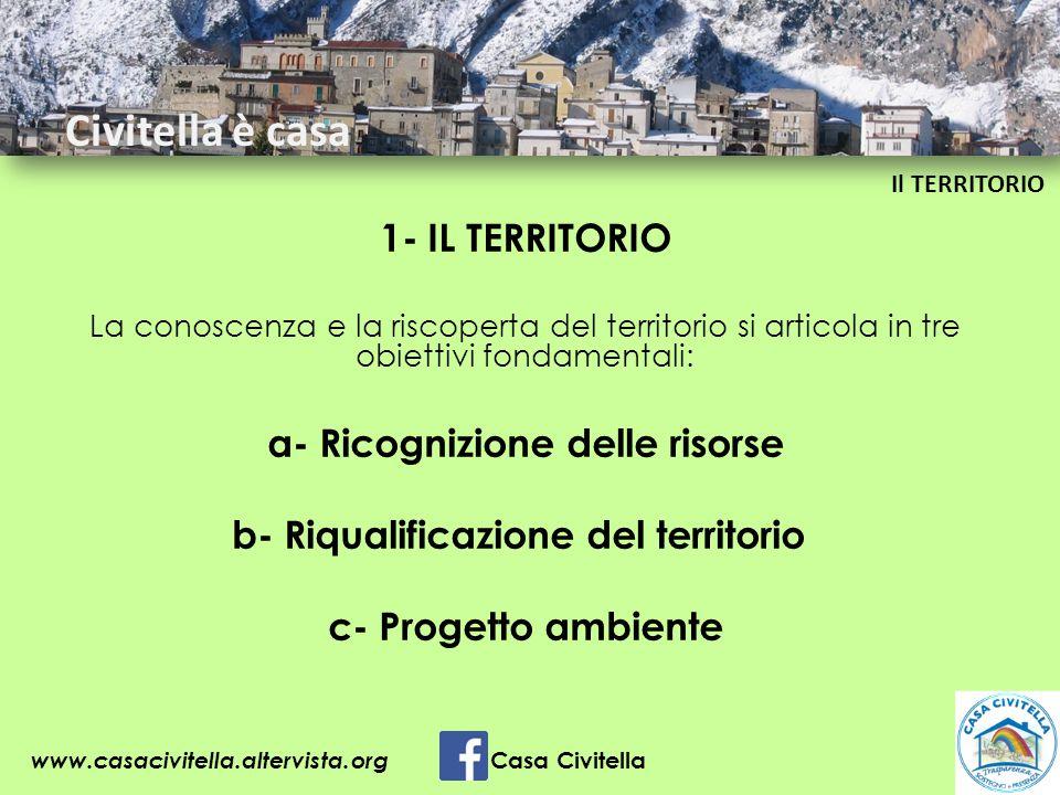 1- IL TERRITORIO La conoscenza e la riscoperta del territorio si articola in tre obiettivi fondamentali: a- Ricognizione delle risorse b- Riqualificaz