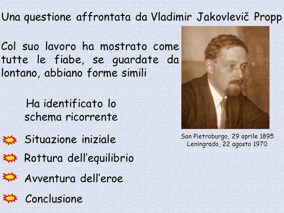 San Pietroburgo, 29 aprile 1895 Leningrado, 22 agosto 1970 Una questione affrontata da Vladimir Jakovlevič Propp Ha identificato lo schema ricorrente