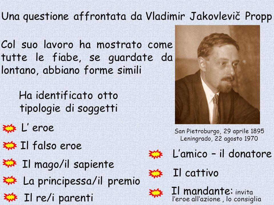 San Pietroburgo, 29 aprile 1895 Leningrado, 22 agosto 1970 Una questione affrontata da Vladimir Jakovlevič Propp Ha identificato otto tipologie di sog
