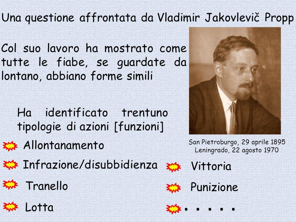 San Pietroburgo, 29 aprile 1895 Leningrado, 22 agosto 1970 Una questione affrontata da Vladimir Jakovlevič Propp Col suo lavoro ha mostrato come tutte