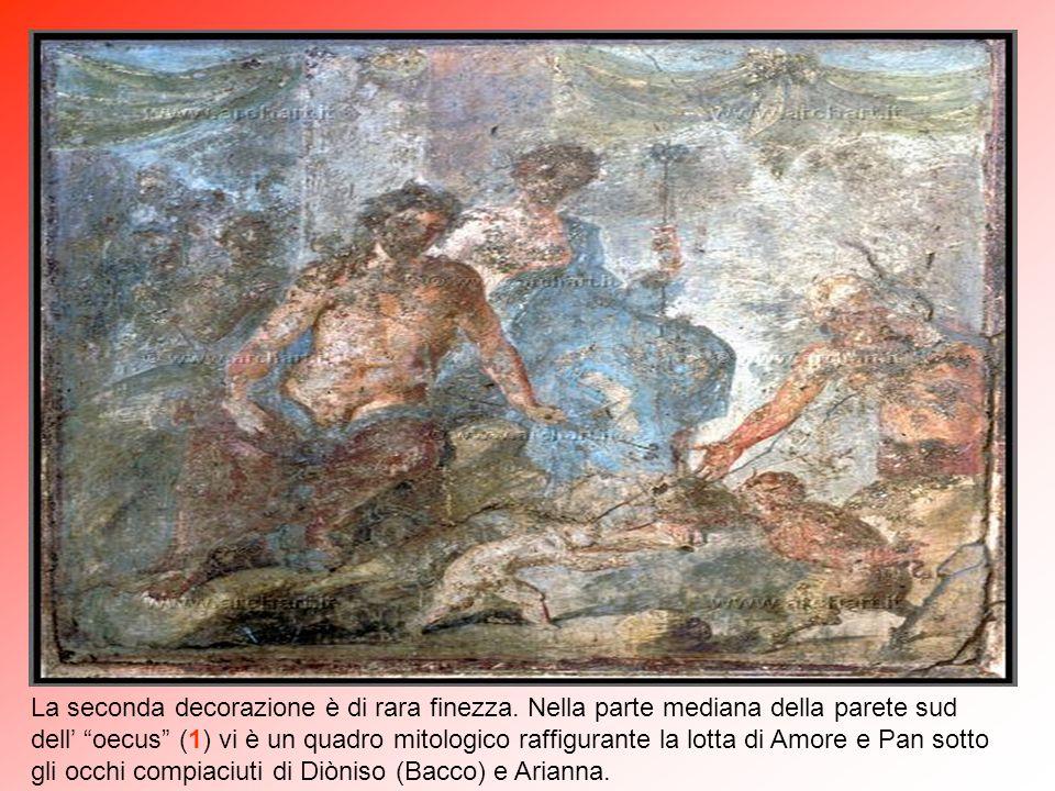 """Nell' """"oecus"""" (1) sulla parete nord è raffigurato il mito di Ciparisso (gay ante litteram), che uccise il cervo preferito da Apollo il quale si vendic"""