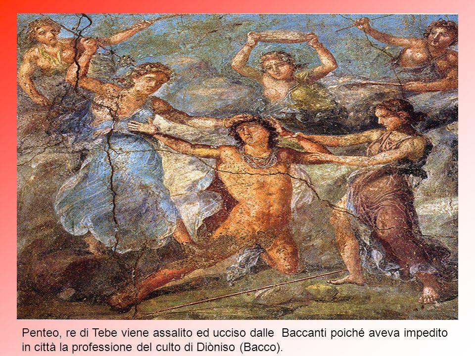 """In questo ambiente, l' """"oecus"""" (3) situato a sinistra dell'ingresso del """"peristilio"""" (4), su pareti dipinte di giallo sono presenti affreschi raffigur"""